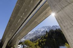 Motorway bridge of the Gotthard motorway photographed from below. In Reusstal valley, Central Switzerland royalty free stock images