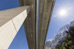 Motorway bridge of the Gotthard motorway photographed from below. In Reusstal valley, Central Switzerland Stock Photography