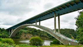 Motorway bridge over the river, in a green landscape. France stock photography