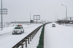 Motorway closed during snowstorm in winter Stock Image