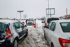 Motorway closed during snowstorm in winter Royalty Free Stock Photography
