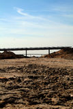 Motorway construction. Construction of motorway with motorway bridges and dirt track, building site Stock Photo