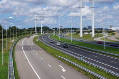 Motorway. The a4 motorway between Delft and Rotterdam in The Netherlands stock image