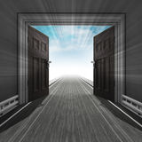 Motorway through doorway with sky and flare Stock Images