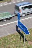 Motorway exit. German road sign: motorway exit royalty free stock photos