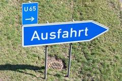 Motorway exit. German road sign: motorway exit stock photos