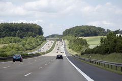Motorway in germany. Motorway and landscape in germany Stock Image