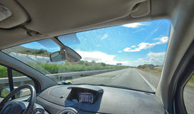 Motorway from inside the car Royalty Free Stock Photos