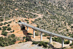 Motorway on the island of Crete in Greece. VOAK Motorway EO Irakliou Agiou Nikolaou Number 90 / E75 near the village of Chersonisos on the island of Crete in stock images