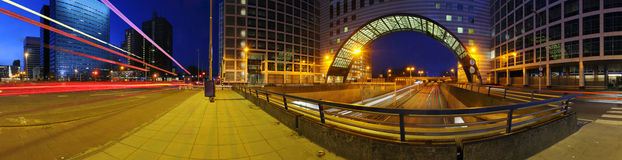 Motorway junction. A 270 degrees panoramic image of a junction on top of a motorway. A big downtown junction Stock Images