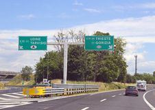 Motorway junction between Austria and Slovenia near the town of Royalty Free Stock Photo