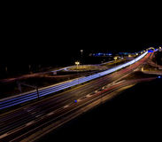 Motorway junction at night. Black copyspace above Royalty Free Stock Image