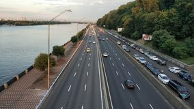Motorway. In Kiev on the embankment near the Dnieper stock photography
