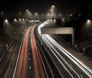 Motorway M80 i misten arkivbilder