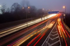 Motorway in misty weather Stock Image
