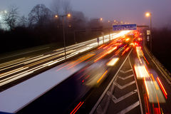 Motorway in misty weather Royalty Free Stock Photos