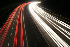 Motorway At Night. Light Trails on the M4 stock photos