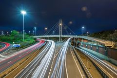 Motorway at night royalty free stock photo