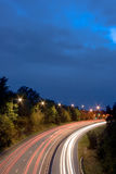 Motorway Night Lights. Motorway picture at long exposure with a night blue sky stock images