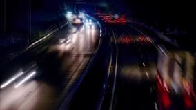 Motorway at night. Time lapse stock video footage