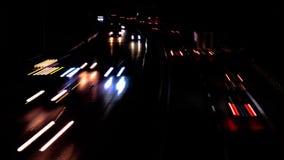 Motorway at night. Time lapse stock footage