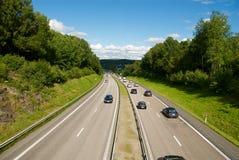 Motorway på västkusten i Sverige Fotografering för Bildbyråer