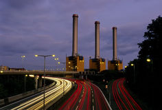 Motorway and Powerstation at night Royalty Free Stock Image
