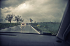 Motorway on a rainy day Stock Photography