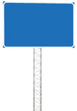 Motorway Road Junction Driving Direction Info Sign Panel Signboard, Large Isolated Blank Empty Blue Copy Space Roadside Signage Royalty Free Stock Photos