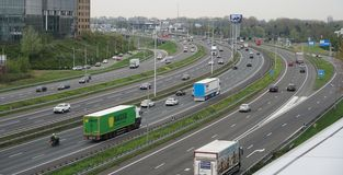 A16 motorway in Rotterdam, the Netherlands. royalty free stock images