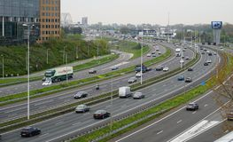 A16 motorway in Rotterdam, the Netherlands. stock photography