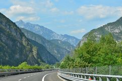 The A23 motorway runs through the Alps. Italy stock photos