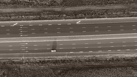 Motorway seen from above. Highway, view from above, fields around stock video footage