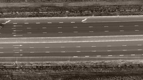 Motorway seen from above. Highway, view from above, fields around stock footage