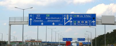 Motorway sign in austria to go in the city of Vienna or Wien and. Austria motorway sign with directions to go in the city of Vienna or Wien and the written in royalty free stock photo
