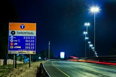 Motorway Signs on Highway at night. Johannesburg, South Africa - October 24 2011: Motorway Signs on Highway at night royalty free stock photography