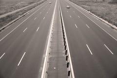 Motorway som ses från över arkivfoto