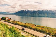 Motorway in Switzerland road with stunning view. Next to lake Geneva royalty free stock images