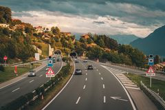 Motorway in Switzerland stock image