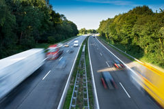 Motorway Traffic. Cars and Trucks on a Motorway Stock Photography