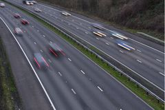 Motorway with traffic. British motorway with moving traffic royalty free stock images