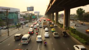 Motorway traffic jam soft focus. Motorway traffic jam at dusk soft focus stock video footage