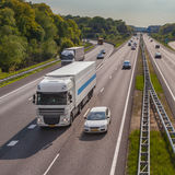 Motorway Traffic on the A12 Motorway. Freeway Traffic seen from Above. One of the Bussiest Motorways in the Netherlands Stock Photo