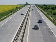 Motorway traffic. SUN MOTORWAY, ROMANIA, April 23, 2016: Motorway traffic in the daytime on the A2 Motorway, also known as the SUN Motorway (Autostrada Soarelui stock images