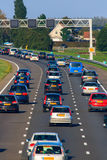 Motorway traffic. Three lanes of freeway traffic Royalty Free Stock Images