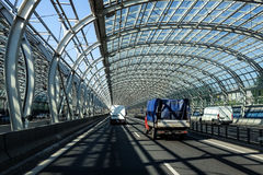 Motorway transport tunnel. Urban landscape royalty free stock images