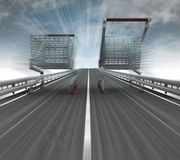 Motorway with two fast blurred shopping carts Royalty Free Stock Image