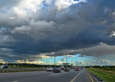 Motorway under a stormy sky Royalty Free Stock Photo