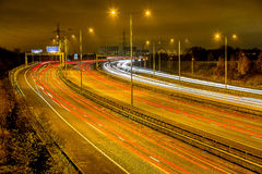 Motorwayen M60, bredvid Sale vatten parkerar (Manchester, UK) Royaltyfria Foton