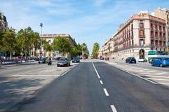 Motorwaytrafik. Barcelona. Arkivbilder